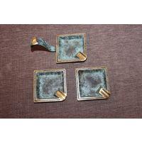 Тяжёлые, латунные пепельницы, 3 штуки, размер 7*7 см., Зап. Европа.