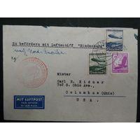 Редкий конверт ,, Гинденбург,,  из Германии в США (Колумбус) 1936г.