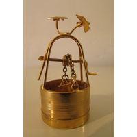 Золотой колодец и птицы Миниатюра бронзовая  50 мм высоты