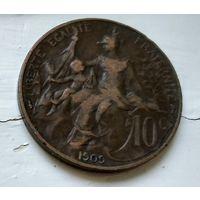 Франция 10 сантимов, 1909 2-5-15