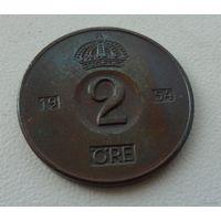 2 эре Швеция 1954 г.в. KM# 821, 2 ORE, из коллекции