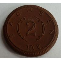Германия. 2 марки 1921г. Фарфор.SACHSEN.