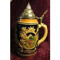 Кружка бокал Эдельвейсы Охотники   керамика олово 0,5 л 22 см 1991 год 3ж