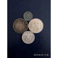 Германия Сборный лот (Германия 5 пфеннигов 1940D /5 марок 1935 А серебро/ Германия. 5 марок 1934G  Серебро/ 2 марки 1939 А, серебро   )