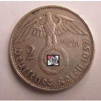 Третий рейх. 2 марки 1937 A   , серебро .9-386