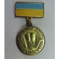 """Знак """"Вiдатнник освiти Украiни"""". Латунь."""