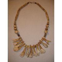 Экзотическое колье бусы из кости зубов животных Африка