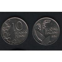 Финляндия km65 10 пенни 1990 год (M) (новый тип) CuNi цветы (f317)