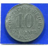 Германия 10 пфеннигов 1920 , цинк