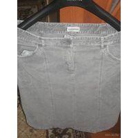 Стильная юбка из вилюра(плюш) р.46 Модно-серого цвета