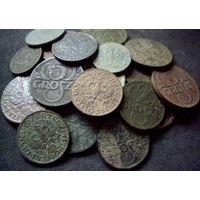 25 монет 1 грош, 2 гроша, 5 грошей,  бронза межвоенная польша