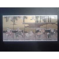 Япония 1990 лошади в живописи 17 век сцепка