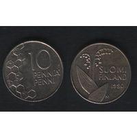 Финляндия km65 10 пенни 1990 год (M) (новый тип) CuNi цветы (f318)