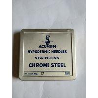 WW II. Металическая упаковка игл.ACUFIRM HYPODERMIC NEEDLES STAINLESS CHROME STEEL.ONE DOZEN No.17 MOUNT RECORD.
