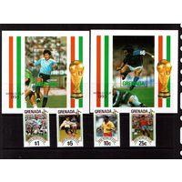 Гренада-1990 (Мих.2161-2164,Бл.255-256) ** , Спорт, ЧМ-1990 по футболу