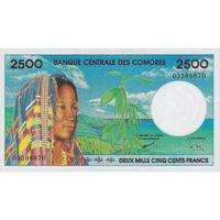 [КОПИЯ] Коморские о-ва 2500 франков 1997 г.
