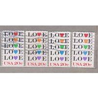Любовь   4 марки: с перфорацией, 2 марки без левой и правой боковой перфорацией, 1 с левым боковым полем  США 1983 год лот 1063 можно раздельно