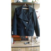 Черное пальто-бушлат Marks&Spencer, шерсть, 48-50