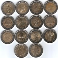 Юбилейные и ходовые монеты ЕС, цена за монету, предпочтителен обмен.
