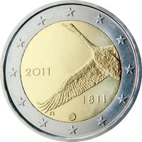 2 евро 2011 Финляндия 200-летие Банка Финляндии UNC из ролла