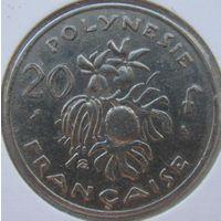 Фр. Полинезия 20 франков 1967 нечастая в холдере