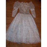 Платье свадебное СССР. Атлас, кружево! Винтажное свадебное платье.