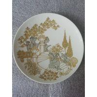 """Коллекционная настенная тарелка """"Серенада"""" с золотым акцентом, студия Розенталь, Германия. 15 см."""