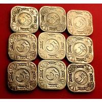 Антильские острова, 5 центов 1965, 1967 г.г.  - 9 штук