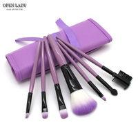 Набор кисточек для макияжа (7 штук) - Фиолетовый