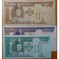 Монголия. 10+50+100 тугриков 2000-05 года