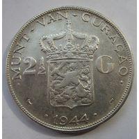 Кюрасао, 2 1\2 гульденов, 1944, серебро