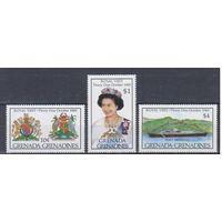 [1288] Гренада Гренадины 1985.Королевский визит.Гербы,корабль.