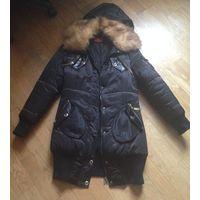Дутое пальто на зиму, набито натуральным пухом и с натур. мехом S-M