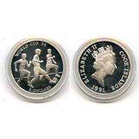 ОСТРОВА КУКА 5 долларов 1991 серебро PROOF ФУТБОЛ