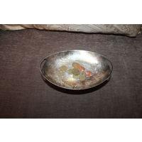 Небольшая, металлическая мелочница, конфетница в посеребрении, размер 21*13 см.
