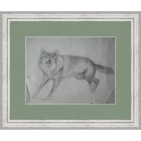 Старый рисунок, карандаш, волк 90-е