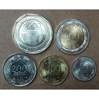 Колумбия НАБОР монет периода 2012-2019 годов UNC