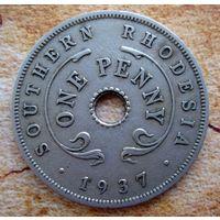Южная Родезия. 1 пенни 1937 г.