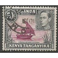Кения Уганда и Танганьика. Король Георг VI. Парусник. 1938г. Mi#65.