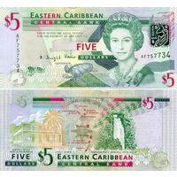 Восточные карибы. 5 долларов 2008. [UNC]