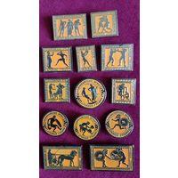 Значки (набор 13 шт) Олимпийские Игры Древней Греции, СССР