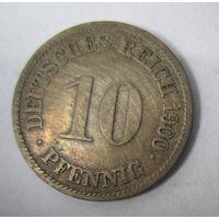 Германия. 10 пфеннигов 1900 G .  1-37