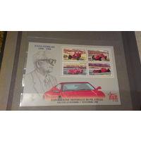 Транспорт, автомобили, машины, гонки, Феррари, известные личности, лошади, марки Италия 1998 блок