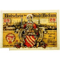 РАСПРОДАЖА!!! - ГЕРМАНИЯ БЕККУМ (Северный РЕЙН-ВЕСТФАЛИЯ) 2 марки 1920 год - BU!