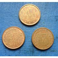 Испания 1 евроцент 2006, 2008, 2013. Цена за штуку