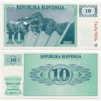 Словения. 10 толаров (образца 1990 года, P4, UNC)