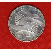 Монета 10 марок 1972 года. Олимпиада Мюнхен. Серебро.