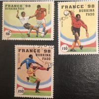 Буркина-Фасо. 1997 год. Чемпионат мира по Футболу во Франции. Серия 3 марки,