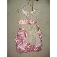Платье нарядное розово-белое. Р 110-116