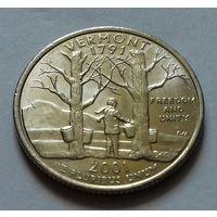 25 центов, квотер США,  штат Вермонт,  P D